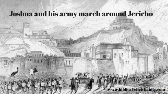 Joshua and his army march around Jericho