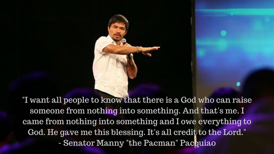 Senator Manny Pacquiao shares his faith in the Lord Jesus Christ