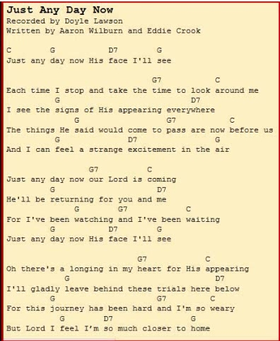 Just Any Day Now (Lyrics and Chords)